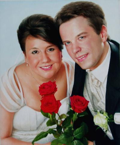 Custom Hand-painted Wedding Portrait Oil Painting From Photo