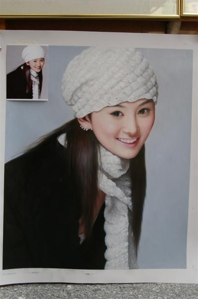 Portrait of Young girl with Long hair and white hat